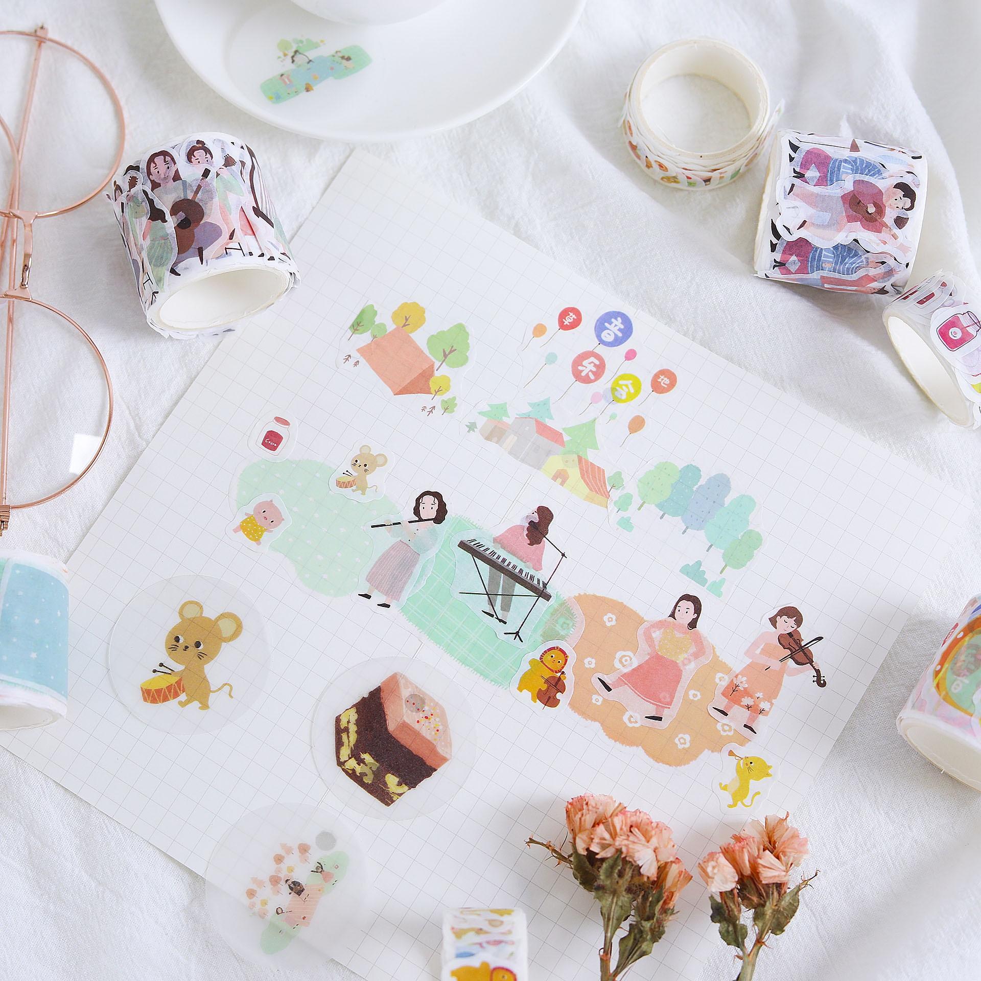 1 Набор/1 лот клейкая лента из рисовой бумаги маленькая свежая трава концертный декоративный Клей Скрапбукинг DIY Бумага японские наклейки