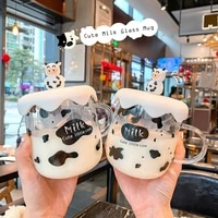 new kawaii milk cow glass mug with lid cartoon cute transparent coffee cup with handle student couple breakfast milk water cups
