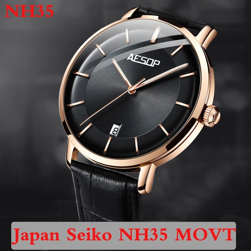 Aesop 2020, автоматические часы для мужчин, Япония, NH35, Move, мужские светящиеся механические часы с календарем, Лидирующий бренд, Роскошные, Relogio Masculino