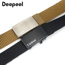 Deepeel 1pc 3.4cm*120cm Automatic Buckle Nylon Webbing Belts for Men Leisure Canvas Weaving Jeans Outdoor Accessories Belt YB267