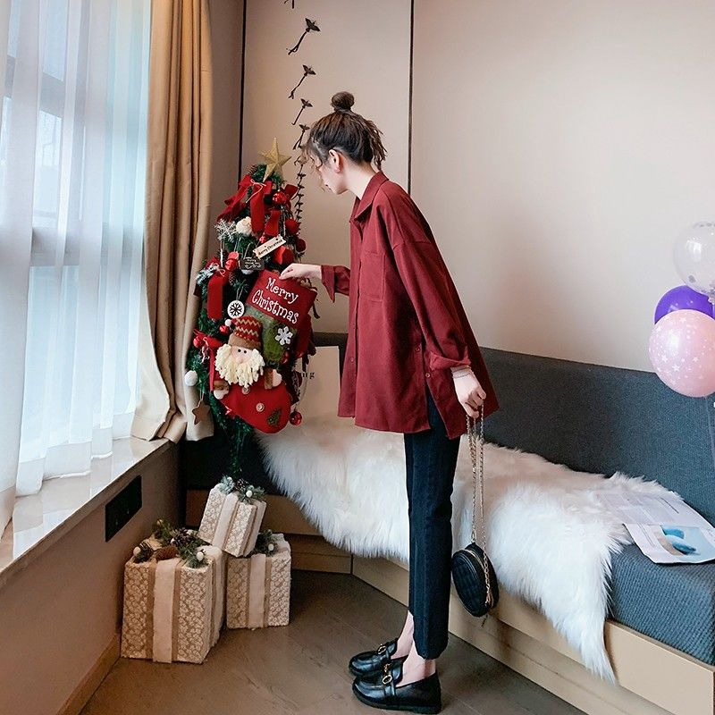 Primavera 2020 Camisa larga para mujeres rojo verde gris solapa de manga larga blusa suelta Tops de algodón para mujeres X208