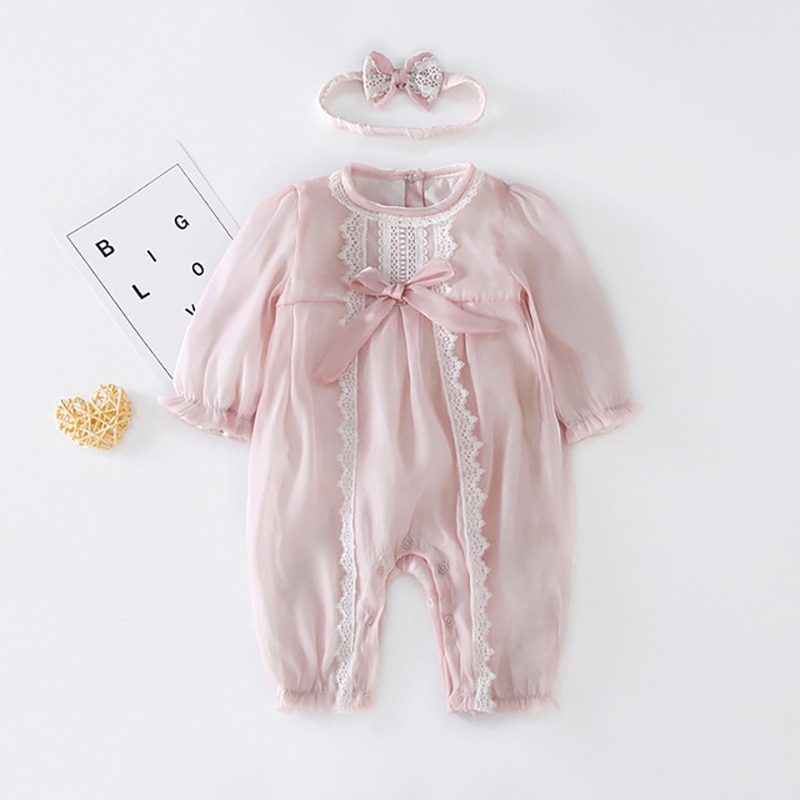 MILANCEL 2021 Autumn Baby Rompers Toddler Girls Clothes Baby Jumpsuits With Headband Lace Birthday C