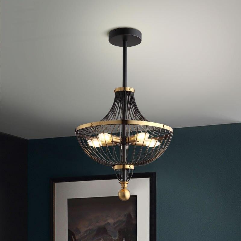 Retro Iron LED Pendant Lights Lighting Luxury Pendant Lamp Dining Living Room Bedroom Aisle Loft Hotel Home Decor Hanging Lamp