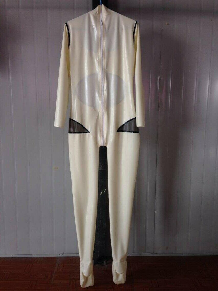 100% de goma de látex blanco Catsuit mujeres mono traje Tigth calcetín Zipper0.4mm S-XXL