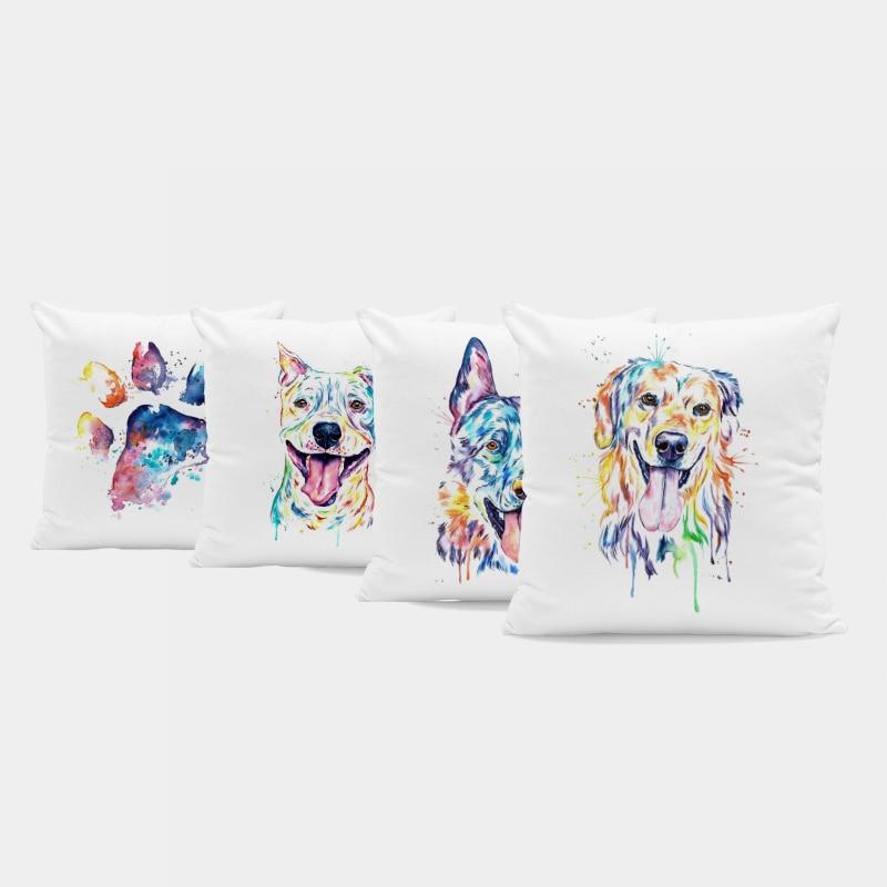 Luxury Custom Pillowcase German Shepherd Schnauzer Hound Watercolor Cartoon Throw Pillow Home Decor Large Velvet Cushion Cover