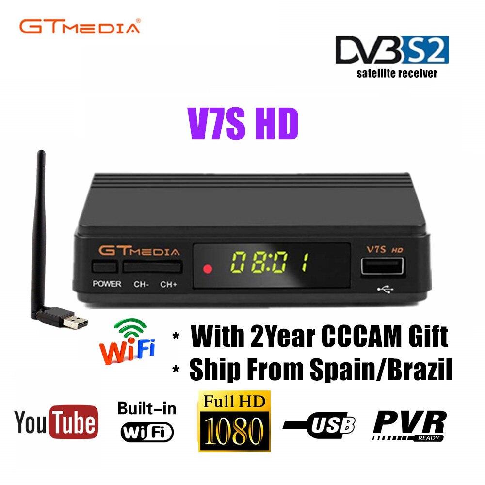 Original Freesat V7S HD GTMEDIA V7S HD receptor de satélite Full 1080P DVB-S2 HD soporte 2 años gratis Cccam Cline powerpu red