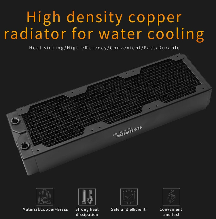 Barrow Computer Radiator Support 120MM Fan Water Cooling Tool CPU Overclocking Cooler Dabel-60d 360 60MM Thickness Red Copper