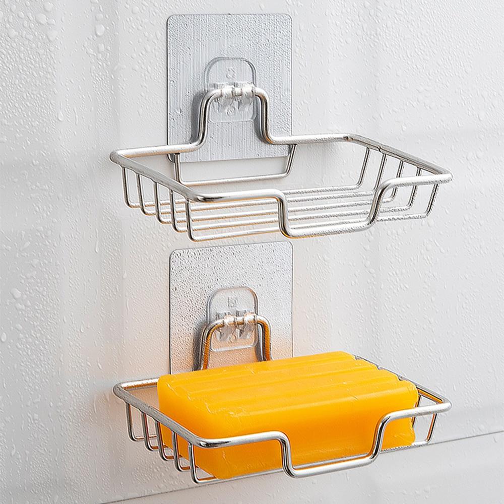Фото - Настенный держатель для мыла, самоклеящаяся подставка из нержавеющей стали для мыла и губки, аксессуары для ванной комнаты электрическая самоклеящаяся подставка для ванной комнаты