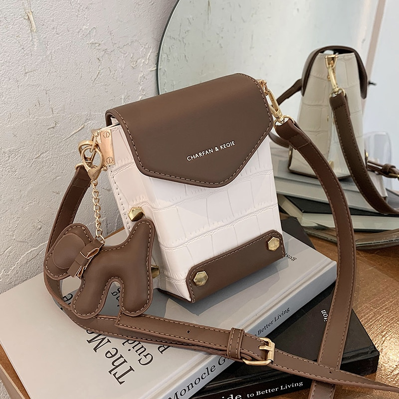 с доставкой Contrasting design Mini Chain PU Leather Crossbody Bags Women 2020 Branded Shoulder Handbags Female Travel Handbag