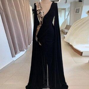 Abendkleider 2021 Black Velour Mermaid Evening Dresses Long Full Sleeves Delicate Beaded Sequined Flower Split Sexy Prom Gowns