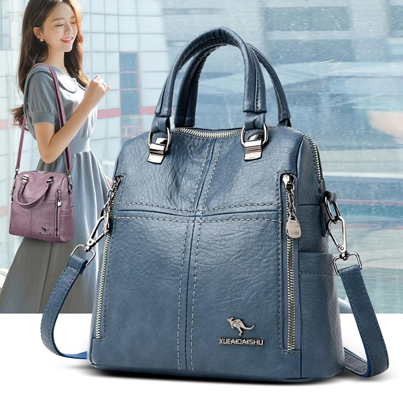 Hot Sale High Quality Leather Backpack Women Shoulder Bags Multifunction Travel Backpack School Bags for Girls Bagpack Mochila