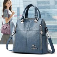 Кожаный рюкзак для женщин, многофункциональная Дорожная сумка на ремне для девочек, школьный портфель