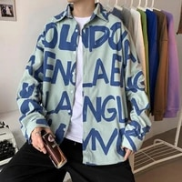 korean clothes spring new corduroy shirt for men button down long sleeve vintage print loose wild handsome harajuku oversized