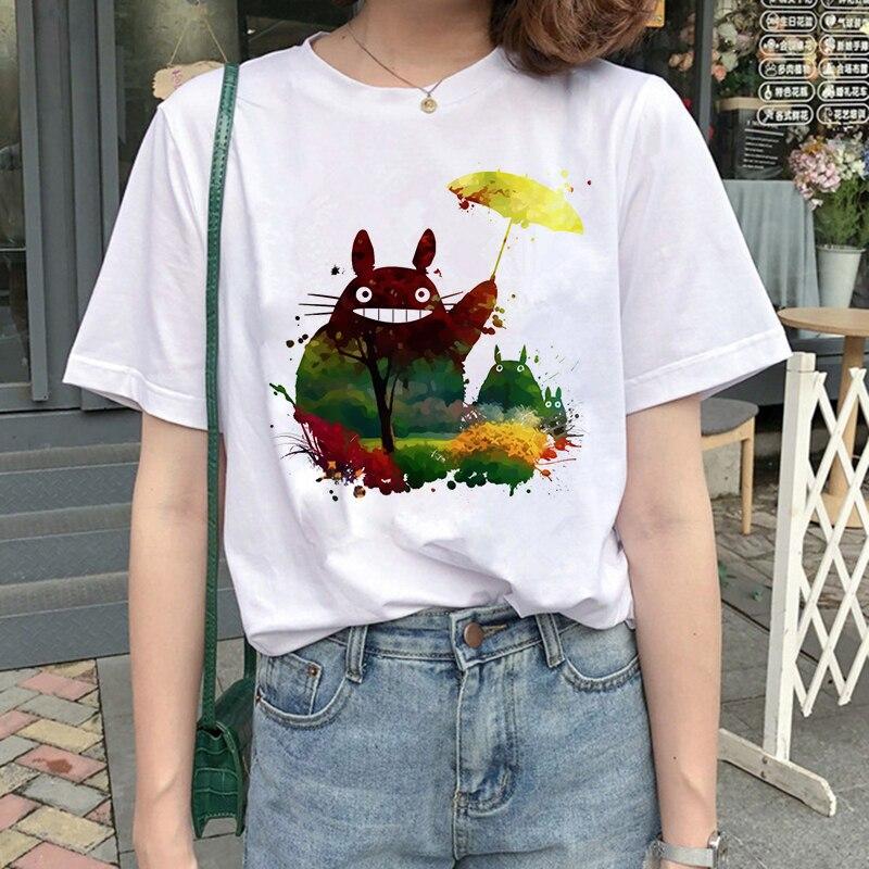 Camiseta clásica Totoro Spirit Away Harajuku, camiseta gráfica, camiseta de gran tamaño, ropa de calle para mujeres, ropa bonita Miyazaki Hayao Anime