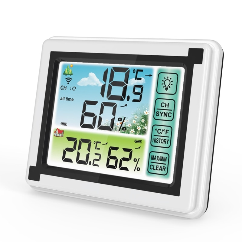 combo bluetooth wireless magnetic monitor smart sensor data logger temperature humidity controller thermostat weather station Indoor Outdoor Wireless Digital Weather Station Max Min Records ℃ ℉ Temperature Meter Humidity Monitor Weather Clock Hygrometer