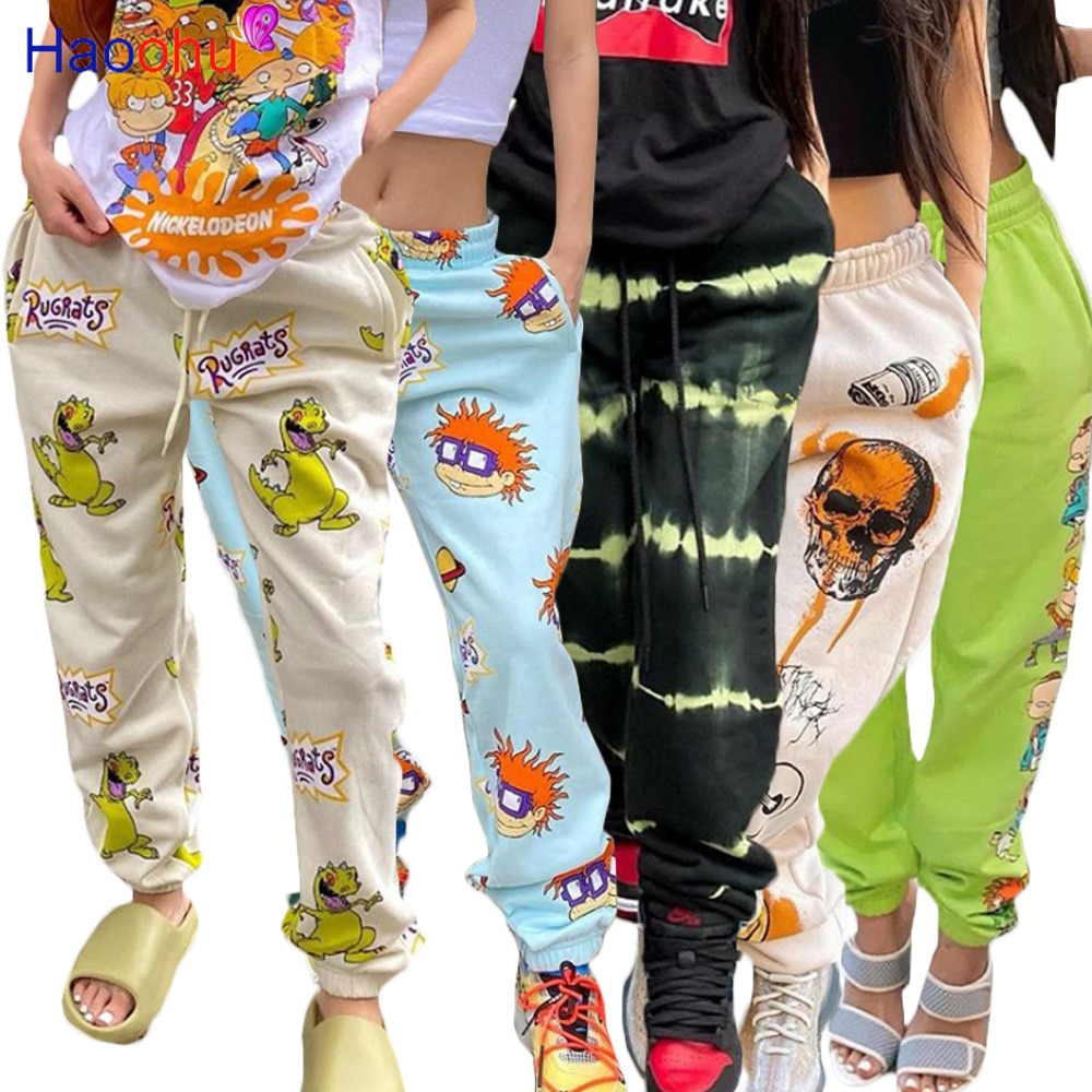 HAOOHU Streetwear Cartoon Skull Print Women Pants Autumn Elastic High Waist Pocket Trousers Draped Jogger Pants Sweatpants
