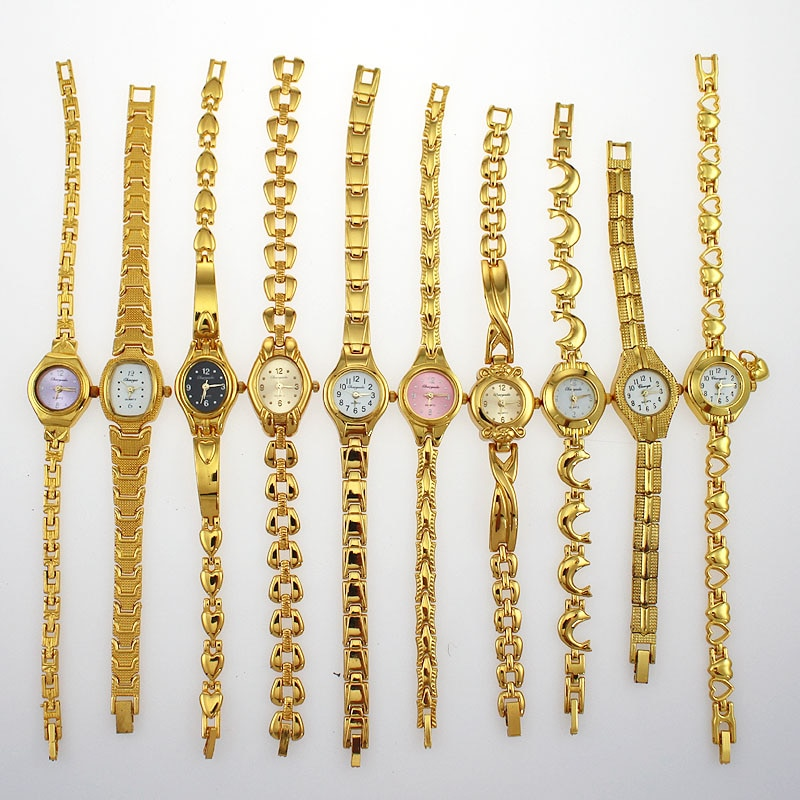 Wholesale Mixed 10PCS Golden Lady Women Girl Watches Quartz Dress Sport Wristwatch Gifts JB4T Bulk Lots Watches cheap watches enlarge