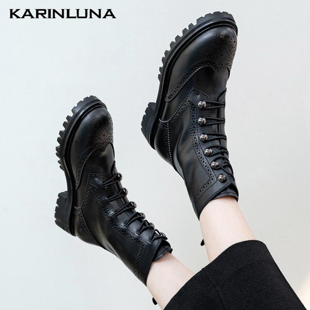 Marca Karinluna, nuevos tacones de plataforma cuadrada, zapatos de cuero genuino, piel de vaca Natural, botas de motocicletas, Mujeres