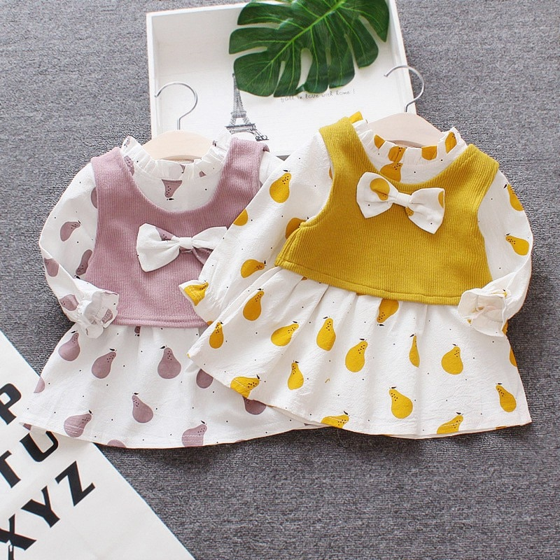 Vestido de bebé niña princesa otoño manga larga estampado Chaleco de punto arcos niños vestidos niñas princesa vestido niños ropa