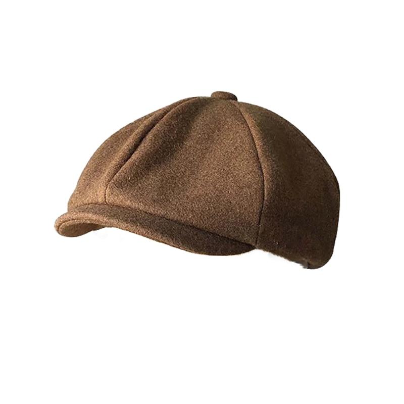 Black Brown Camel Wool Hat Man Newsboy Caps Solid Color Tweed Warm Winter Octagonal Hat Male Female Gatsby Retro Flat Caps BLM65