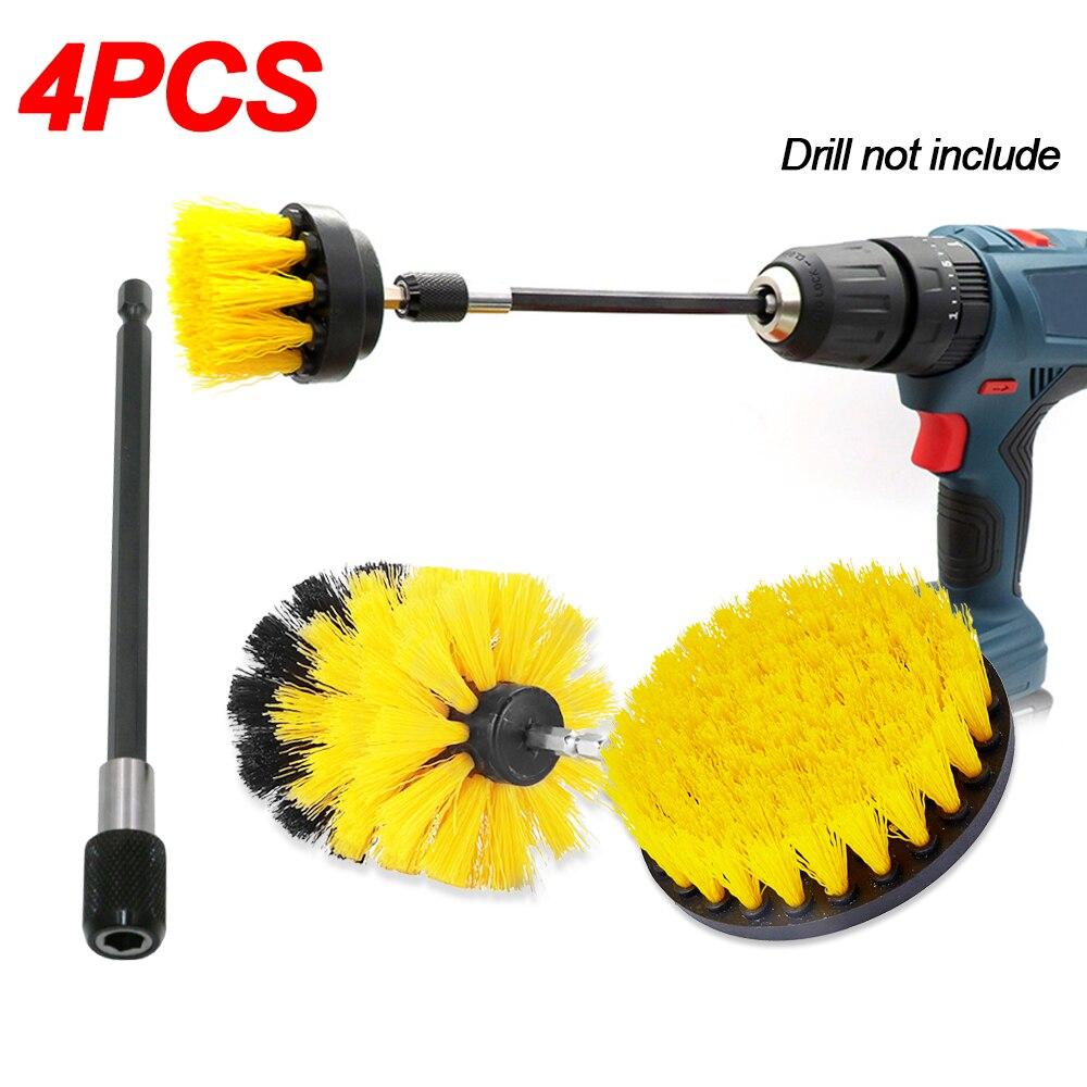 Escova de broca da escova do purificador do poder de 3 pces + 1pc 15cm tubo de extensão 2 3.5 4 brushes escovas da roda para jogos de limpeza da lavagem do carro