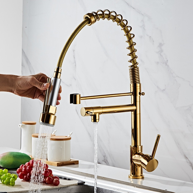 All Copper American High-pressure Pull Spring Tap Kitchen Hot and Cold Double-out Tap Large Sink Golden Tap enlarge