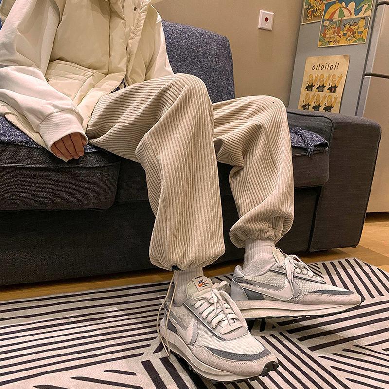 Privathinker Man Casual Tie Leg Straight Pants Woman Corduroy Solid Color Oversize Trousers Man Warm Korean Streetwear Pants
