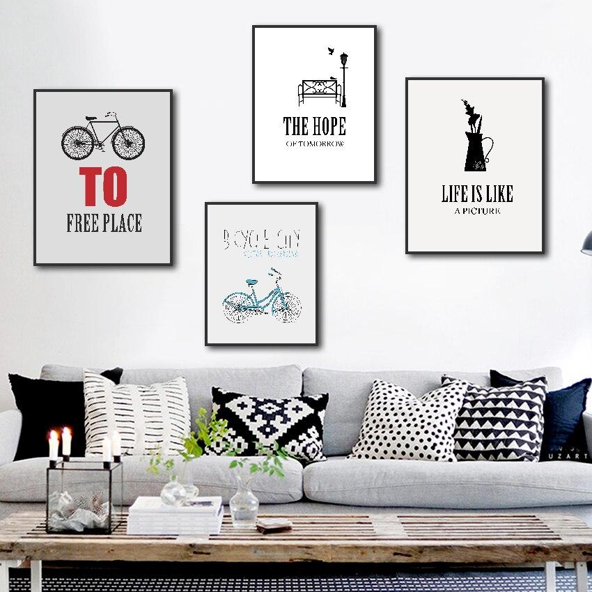 Rueda de bicicleta, pintura en lienzo, póster con lema de vida moderno e impresión de imagen de pared para sala de estar, Arte de la pared Decoración abstracta