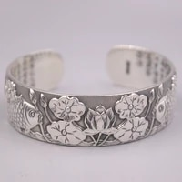 real silver bangle 999 fine silver womens pure silver bracelet retro lotus fish without certificate bangle 62 68mm gift