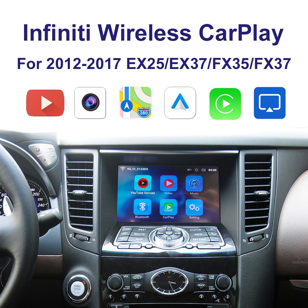 Promo wrieless Car Carplay interface support Iphone Android Auto  Youtube video For 2012-2017  Infiniti EX25 EX37 FX35 FX37
