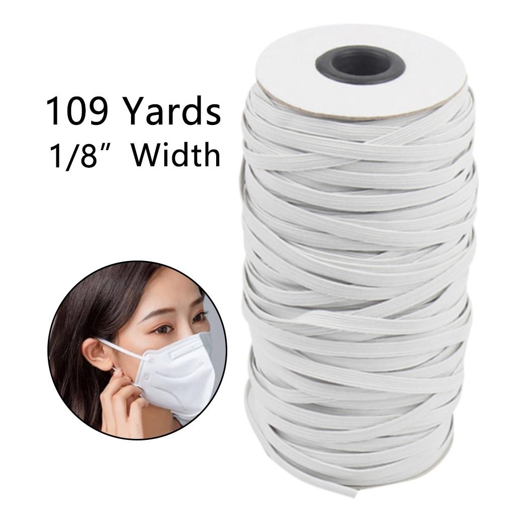 Braided Elastic Band White Elastic Cord Heavy Stretch High Elasticity Knit Elastic Band for Sewing Crafts DIY