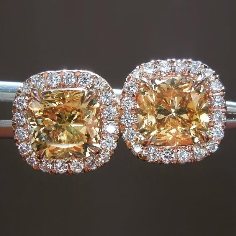 18K oro rosa corte 6mm laboratorio diamante Stud pendiente de Plata de Ley 925 DE BODA pendientes para las mujeres joyería de fiesta