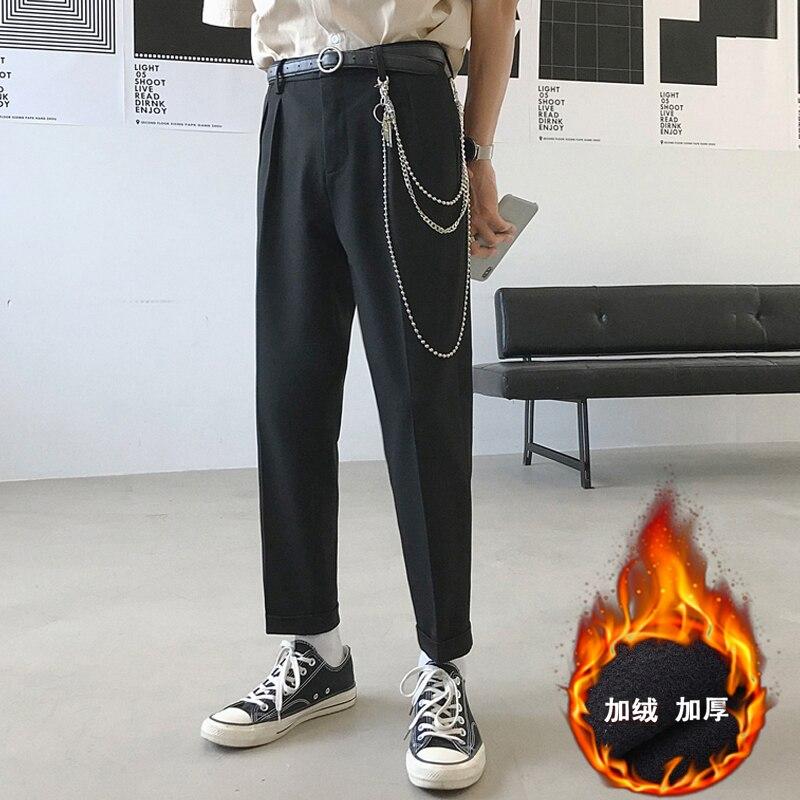 Pantalones de estilo occidental para hombre 2019, pantalones de moda de terciopelo grueso, pantalones Haren, pantalones de ocio, pantalones casuales grises/negros, talla grande 28-34