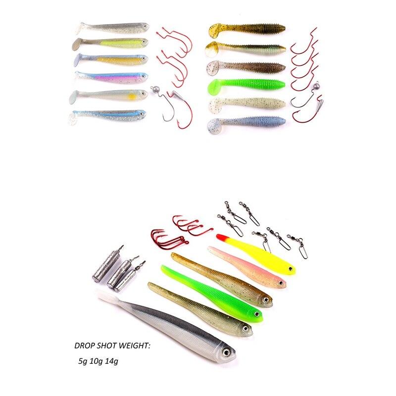 Mizugiwa Drop Shot 45 Kit Inc Soft Shad Tail Minnow Bait Hook Weight Snap Swivels Worm Hooks Jighead Hook Bass Swimbaits