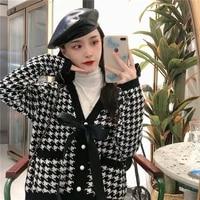 2020 korean autumn winter cute women sweater cardigans vintage plaid v neck bow lacing jumper female knitting cardigan coats