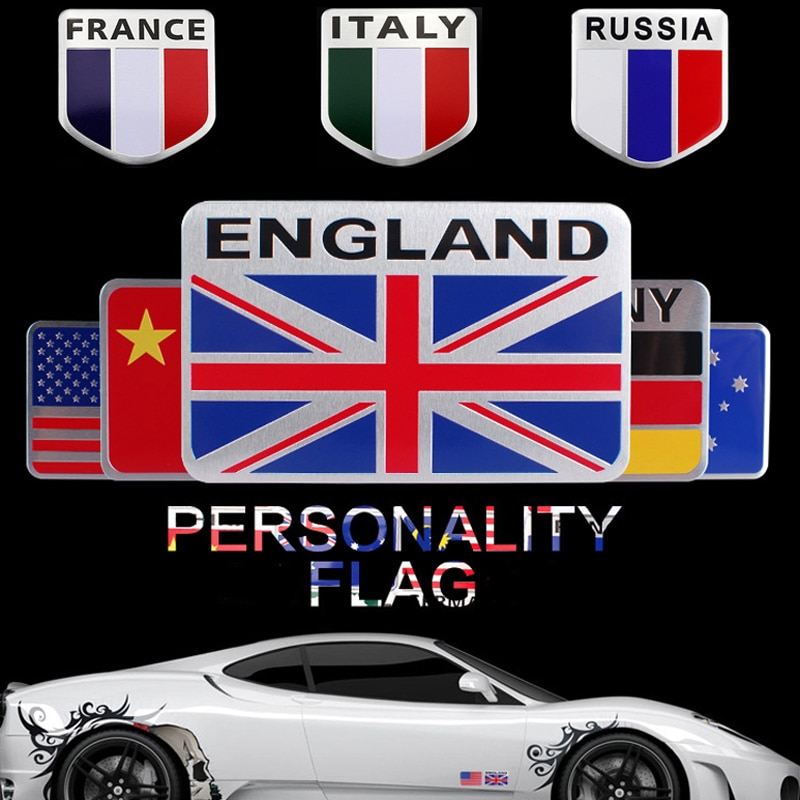 Personality Nation Flag Emblem for Mercedes Benz AMG Audi B6 Peugeot Toyota Fiat Honda Skoda KIA Renault Vehicle Body Sticker