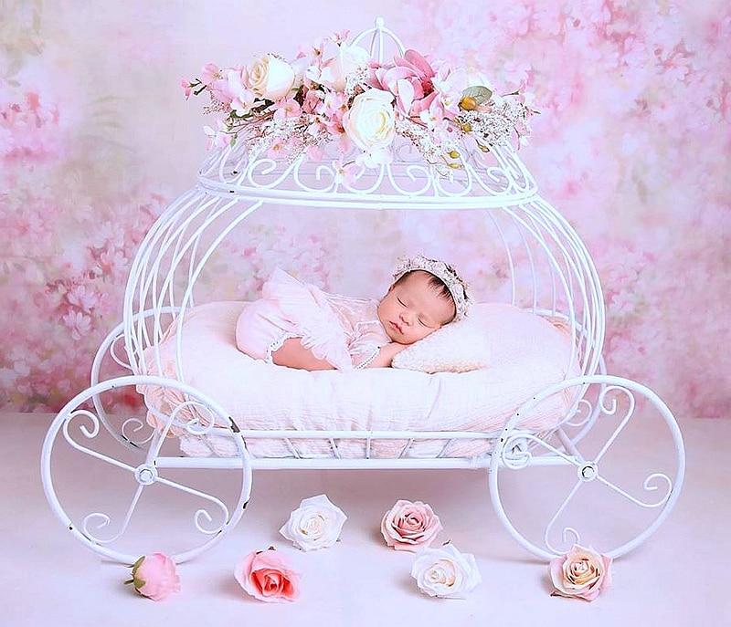 Good Newborn Photography Props Baby Iron Princess Cinderella Carriage Prop Posing Pumpkin Car Poser Fotografia Photo Props