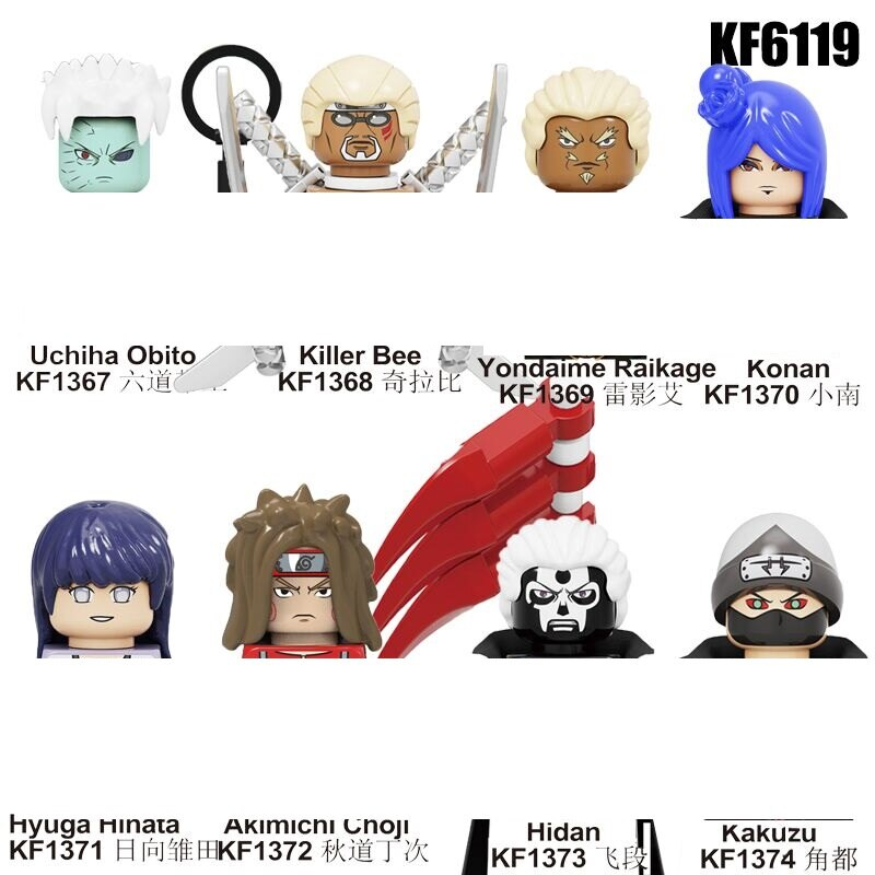 Narutoes Anime Mini Spielzeug Charakter Uchiha Obito Hidan Kakuzu Konan Action-figuren Kopf Ziegel Spielzeug Für Kinder Geschenk KF6119 WM6106