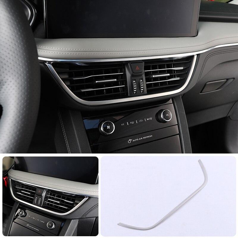 Aço fosco/cor de fibra carbono interior meio console saída ventilação ar guarnição acessórios 1 peças para ford kuga escape 2020