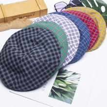 Fashion Fine Stripe Lattice Berets Hat Women Men Spring Summer Plaid Visors Red Green Blue Duckbill