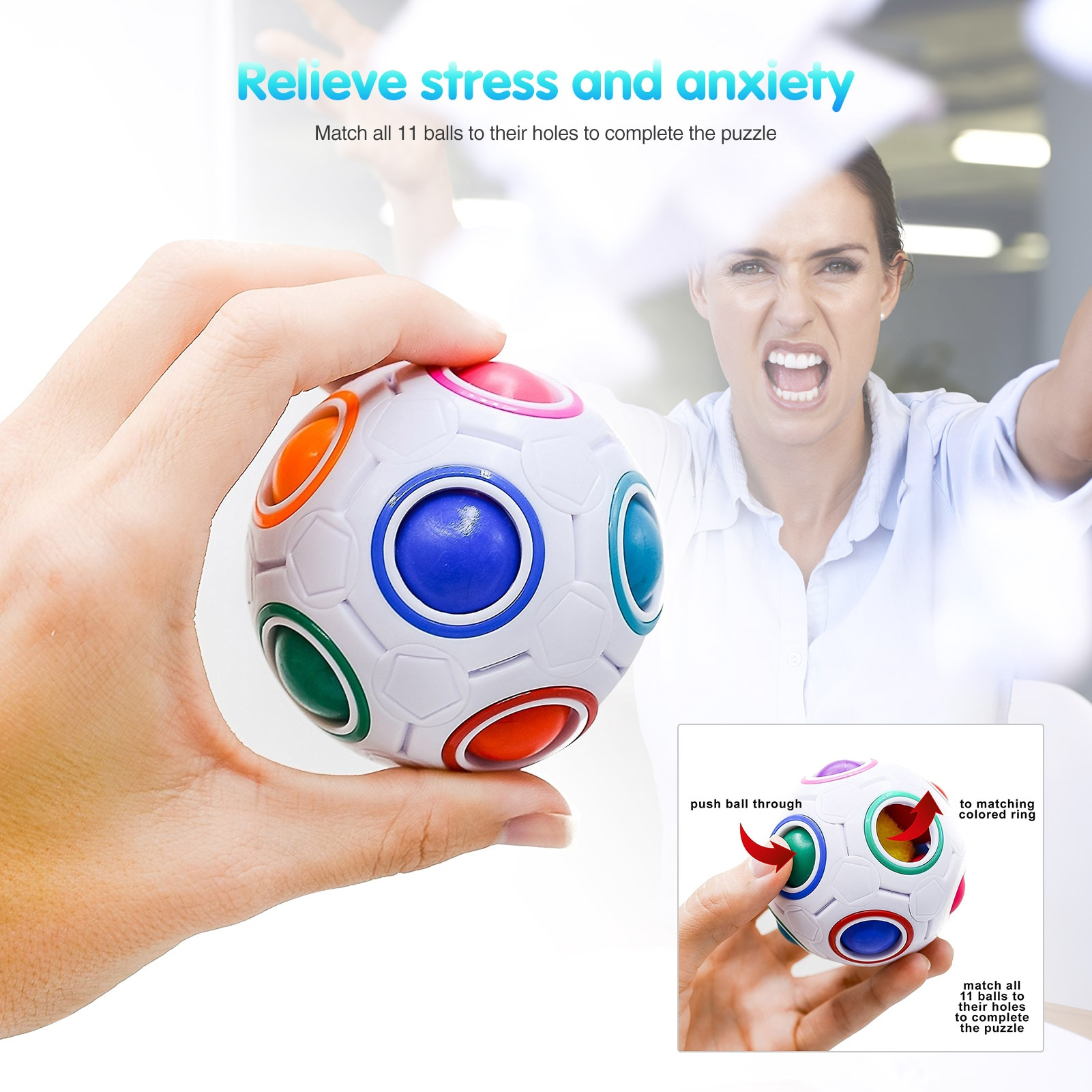 23PCS Silicone Sensory Toy Set Durable Decompression Sress Reliver Noodles Rope Football Keychain Bubble Toys For Children Adult enlarge