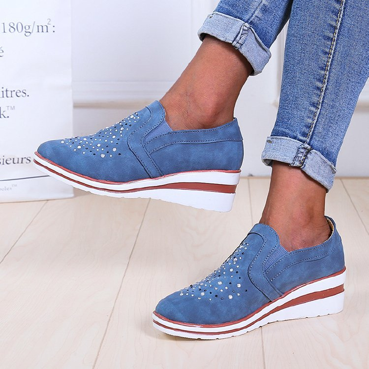 Women's shoes explosive style casual single shoes round toe mid-heel increased large size women's shoe fashionable and versatile