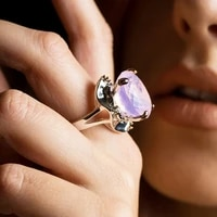 charm oval pink zirconia ring silver color jewellery beautiful finger rings for women latest jewelry