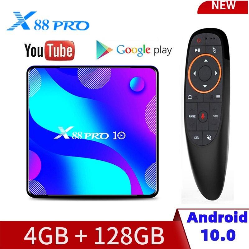 X88 PRO10 Dispositivo de Tv inteligente Android10.0 RK3318 4GB RAM/32/64/128GB ROM 4K 2,4G y 5G WiFi TV Box Bluetooth Set de reproductor multimedia Top BOX