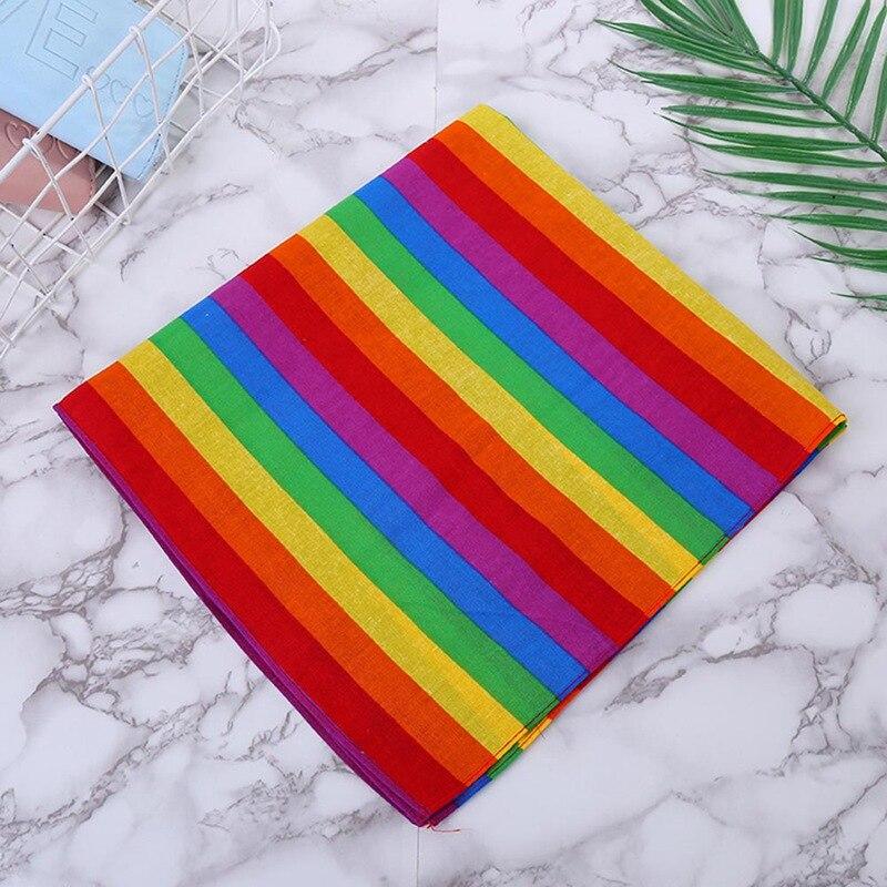 Фестиваль радуги красочные семь полос 55x55 см Унисекс Хлопок Карманный квадратный шарф повязка бандана гей парад браслет шеи галстук