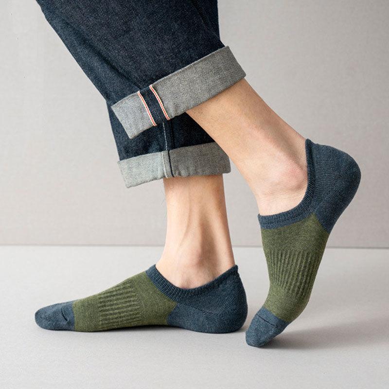 Качественные мужские носки, мужские носки из чистого хлопка, мужские незаметные тонкие носки-невидимки с защитой от запаха, спортивные носк...