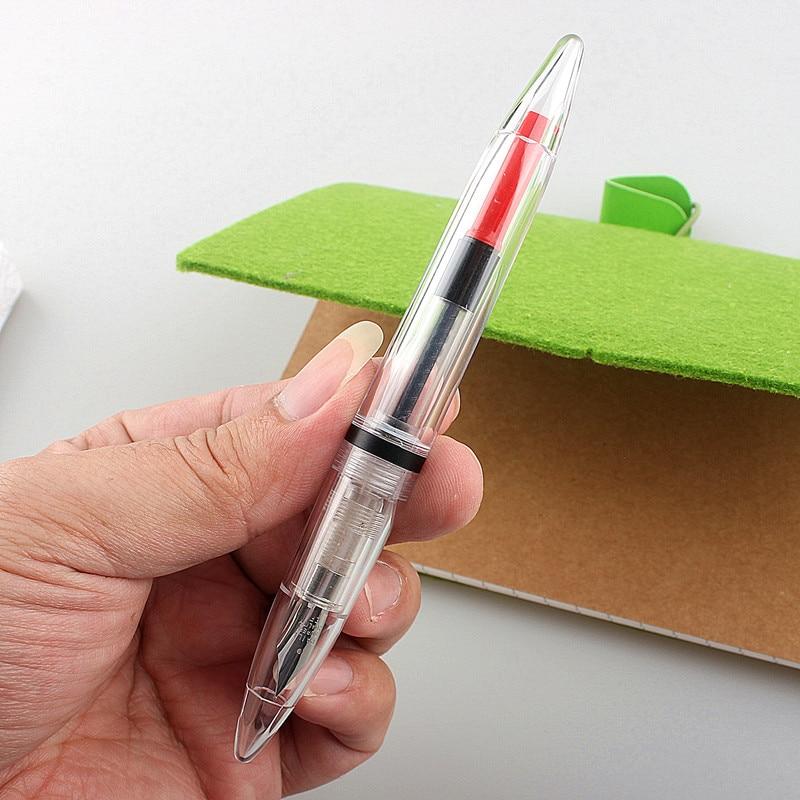 Фото - Новая миниатюрная акриловая перьевая ручка, прозрачная портативная чернильная ручка, иридиевая ручка EF перо, короткая ручка для письма, под... ручка