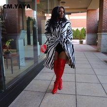 Cm. yaya mulheres inverno zebra manga longa lã longa mistura vintage trincheira