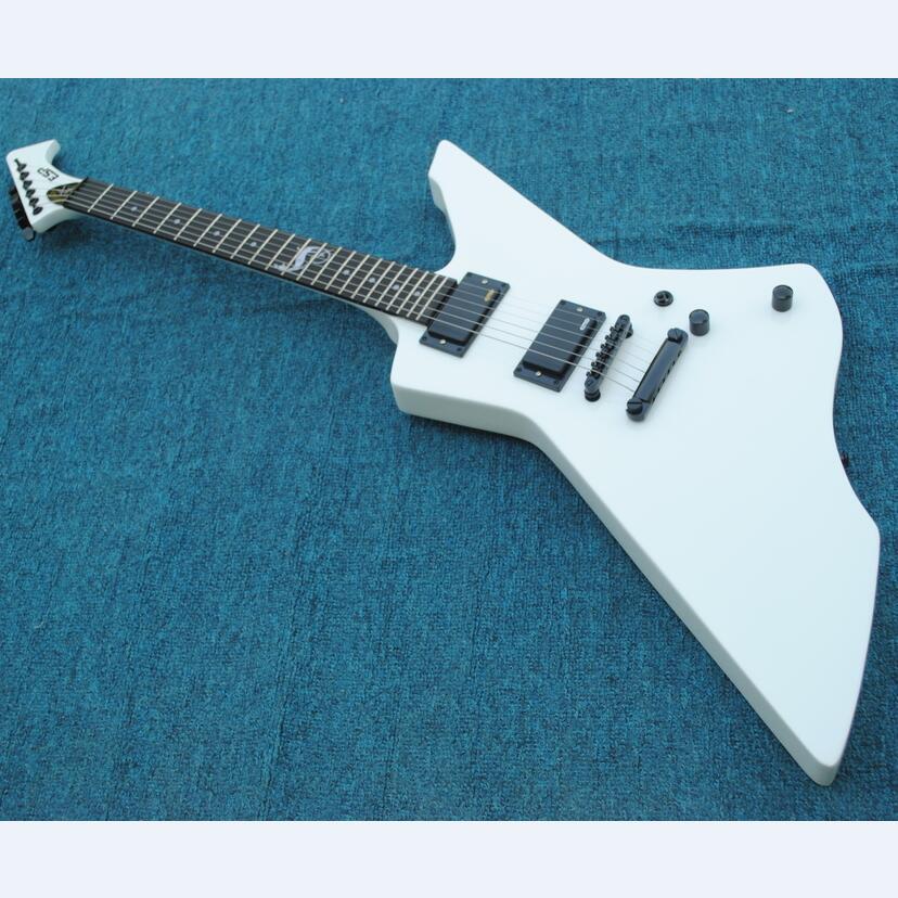 Cuerpo de caoba blanco snakebyte guitarra eléctrica de james hepfield diapasón de palisandro KSG guitarra de serpiente con pastillas de guitarra activa