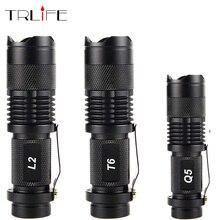 Taşınabilir Mini Q5/T6/L2 alüminyum su geçirmez 3/5 modları zumlanabilir LED el feneri Torch taktik ışık 18650 ve AA 14500